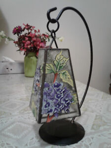 """Stained glass candle light, 10"""" tall"""