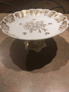 White with Gold Cake Plates $20 each and Small Dish$6.00