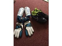 Football boots, shin pads and gloves.