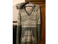 Superdry long knitted grey hooded jumper S