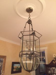 Chandelier Pendant Light Fixture Clear and Etched Glass, excelle