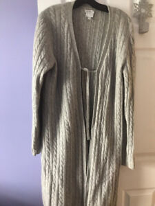 GREY MATERNITY  100% CASHMERE LONG SWEATER SIZE L