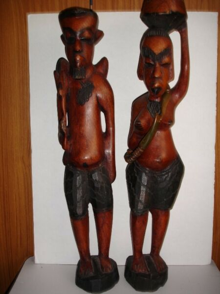 """Matching Pair African Carved Hardwood Figures Male /Female – 22"""" Tall"""