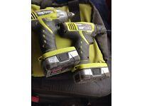 Ryobi drill impact driver set