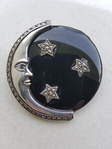 Sterling Vintage Marcasite Onyx Emerald Moon and Stars Brooch