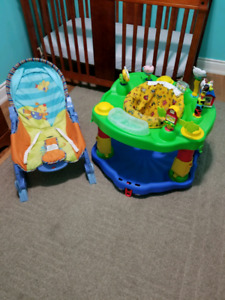 Exersaucer and baby rocker/vibration chair