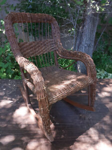 ANTIQUE WICKER CHILD DOLL CHAIRS....$20.00 TO $50.00