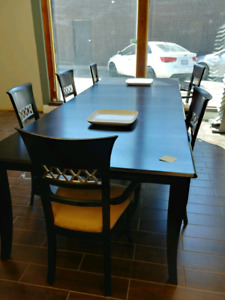 Dinning room table, chairs, bar chairs, and cabinet