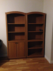 2 Bookcases with Oak Finish