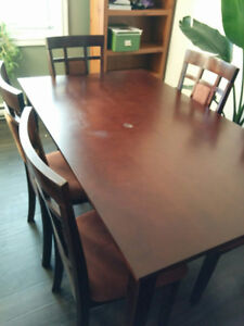 Lovely + sturdy wood table with 6 chairs - 250$ OBO