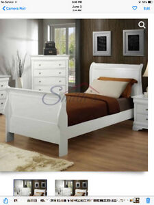 New White Queen Size Sleigh Bed Just the bed ,side rails,hb,fb