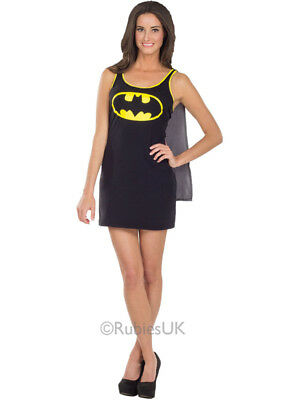 Adult Batgirl Tank Dress & Cape Outfit Fancy Dress Superhero Batman Womens - Batman Outfit Adult