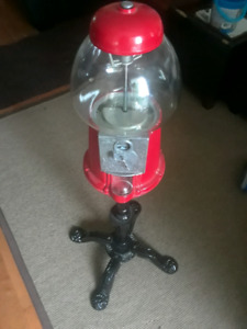 Coin-operated glass & cast iron gum ball machine