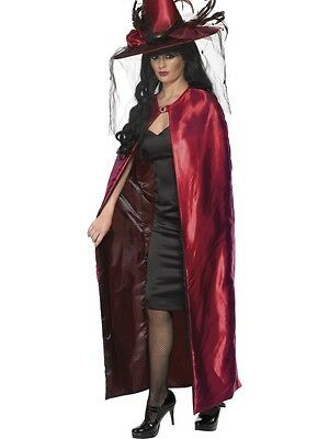 Red Deluxe Reversible Witch Cape *HALLOWEEN CLEARANCE** Ladies Fancy Dress