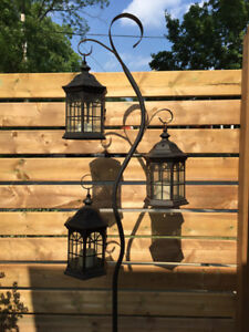 Indoor/Outdoor Hanging Lantern Candle Holder w/Stand