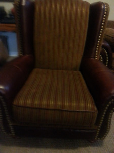 Beautiful leather and fabric armchair