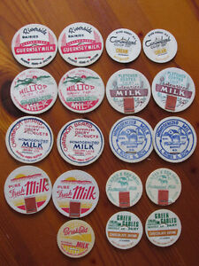 19 VINTAGE NOVA SCOTIA MILK CAPS UNUSED