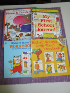 Richard Scarry - 2 bks,  Book with stickers & 5 puzzle book