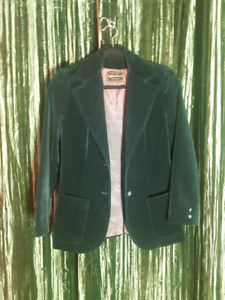 Green Velvet Vintage Highland Queen Blazer, made in Canada.