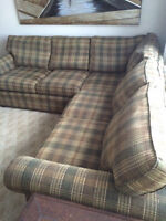SECTIONAL COUCH, TWO CHAIRS, COFFEE & END TABLE