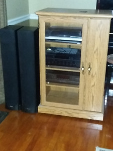 4 Piece Stereo System with Oak Laminate Cabinet