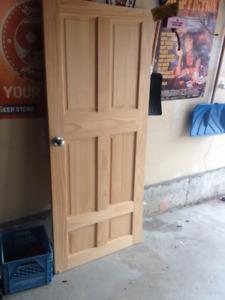 32x75 Interior 6 panel Door with hinges and handle