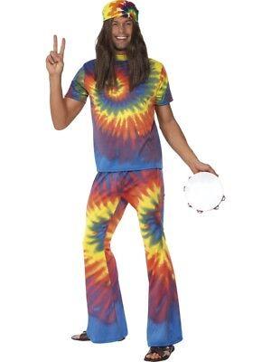 60er Jahre Hippiekostüm Herren Regenbogenanzug Flower Power rainbow (60er Jahre Kostüme)