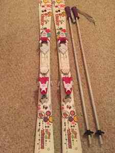 Girls Rossi Ski 120 and Poles