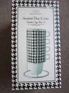 NEW Stackable Coffee Mug Set, Black & White Houndstooth