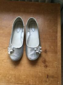 Girls silver Monsoon shoes size 2