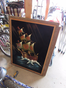 Vintage Velvet Ship Painting, 2-sided wooden painting