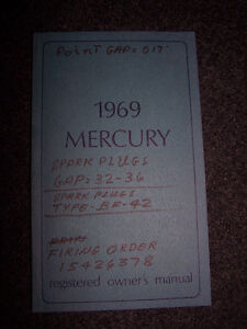 "1969 Mercury - ""registered owners manual"""