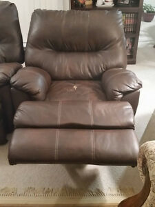 NEW REDUCED PRICE - Brown Leather Wall-Hugging Power Recliner London Ontario image 2