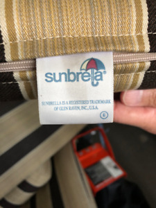Sunbrella patio cushion sets for sale - details in ad