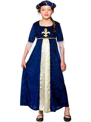 Child Tudor Princess Outfit Fancy Dress Costume Book Week Blue Kids Girls