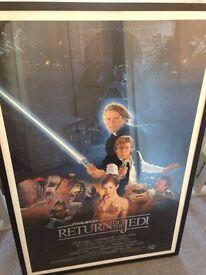 Original Return of the Jedi US One Sheet Poster Framed Vintage Star Wars