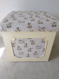 Pretty upcycled ottoman/padded chest storage country cream