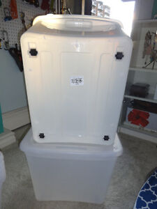 Clear storage bins with snap-in wheels Calgary Alberta image 3