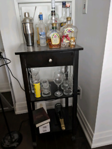 Wayfair Cottinger Bar Cart with wheels and drawer.