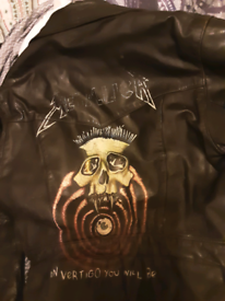 Hand painted leather metallica jacket