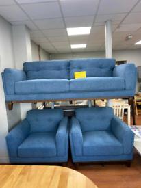 3. 3+1+1 blue fabric suite