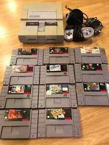 Super Nintendo with games