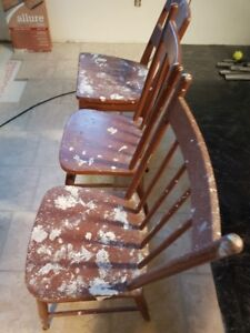Old Wood Chairs (It is Drywall mud on them as seen in the pic)