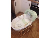 Olive and Henry Moses basket with rocking stand