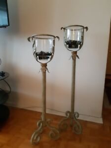 Set of floor candle holders