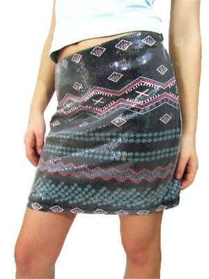 C&V Chelsea and Violet Sequined Printed Mini Skirt, Size M  NEW for sale  Shipping to India
