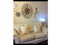Immaculate Cream sofa with reversible back cushions and complete spare set of covers made by Plumbs