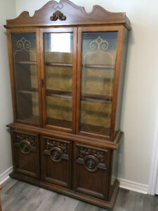 China cabinet, Dinning table and 4 chairs with insert, etc.