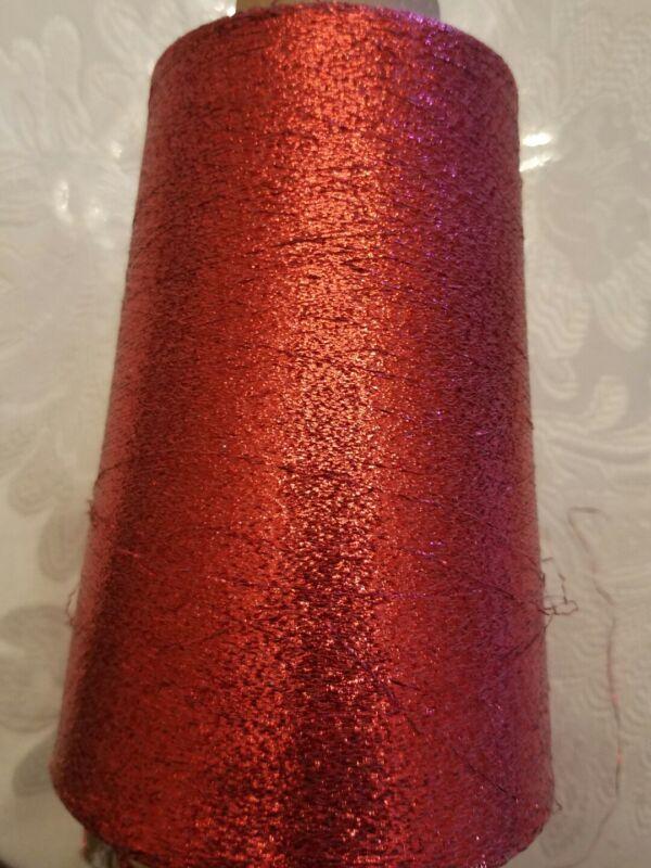 RED LUREX METALLIC GLITTER YARN - aprox 13 oz CONE - MACHINE KNITTING