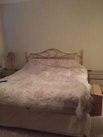 Super King divan bed , with mattress and brass headboard